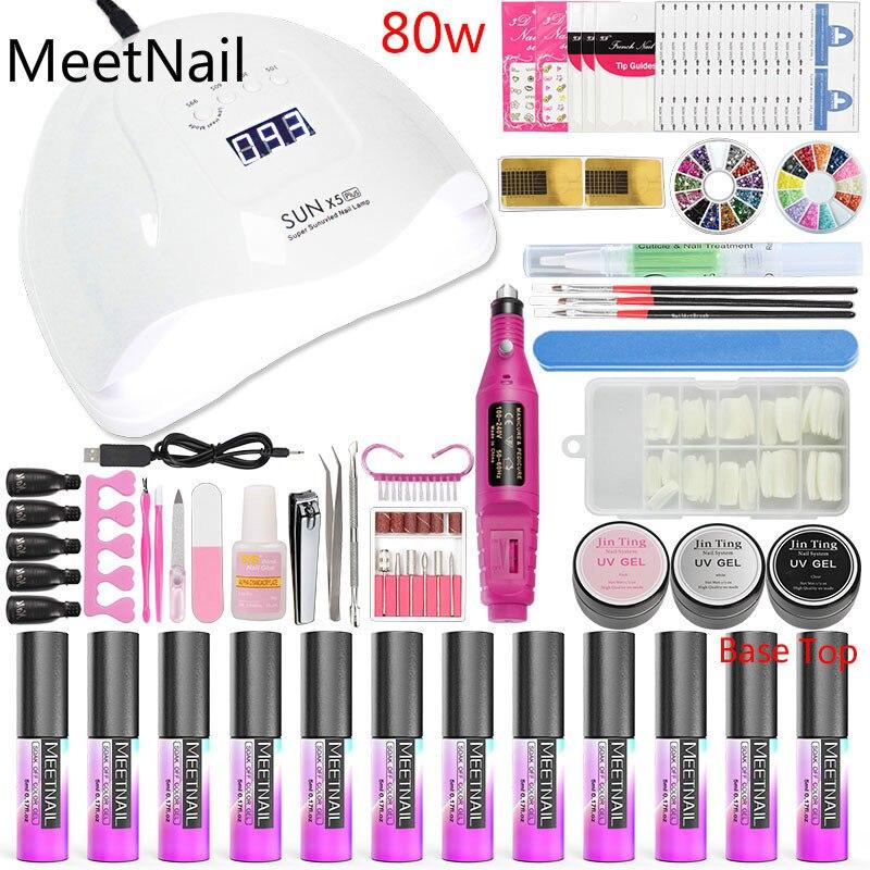 A10 Nail Art Tools Manicure Set Nail Kit 36w/48w/80w Led Nail Lamp Dry 10 Color Gel Varnish Polish Set for Nails Extensions Set