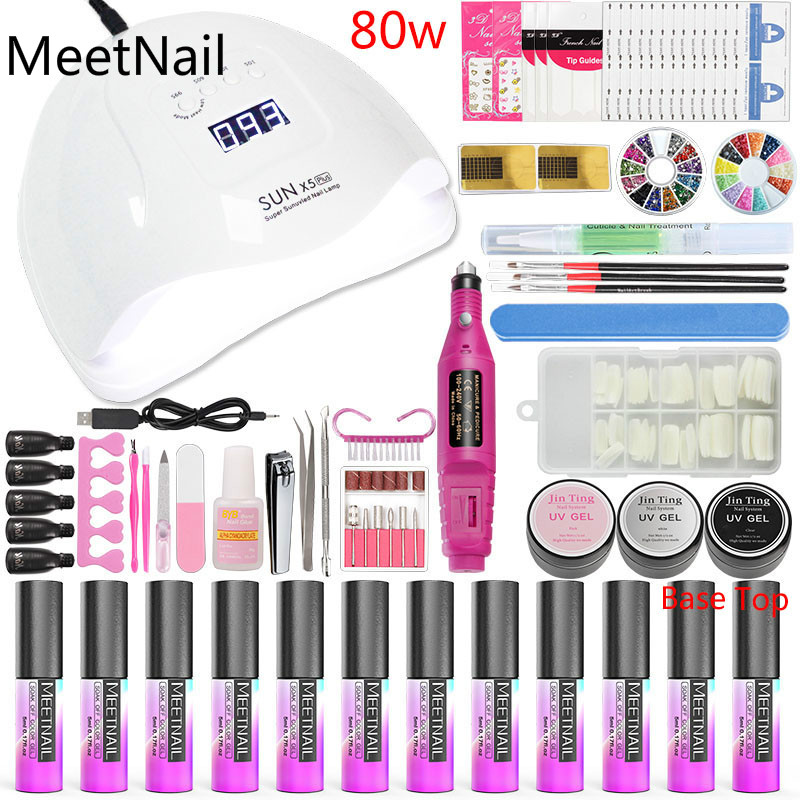 A10 Nail Art Tools Manicure Set Nail Kit 36w/48w/80w Led Nail Lamp Dry 10 Color Gel Varnish Polish Set for Nails Extensions Set