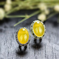 Cmajor Beautiful earring Retro jewelry Sterling-silver-jewelry Natural oval canary stone stud earrings for women