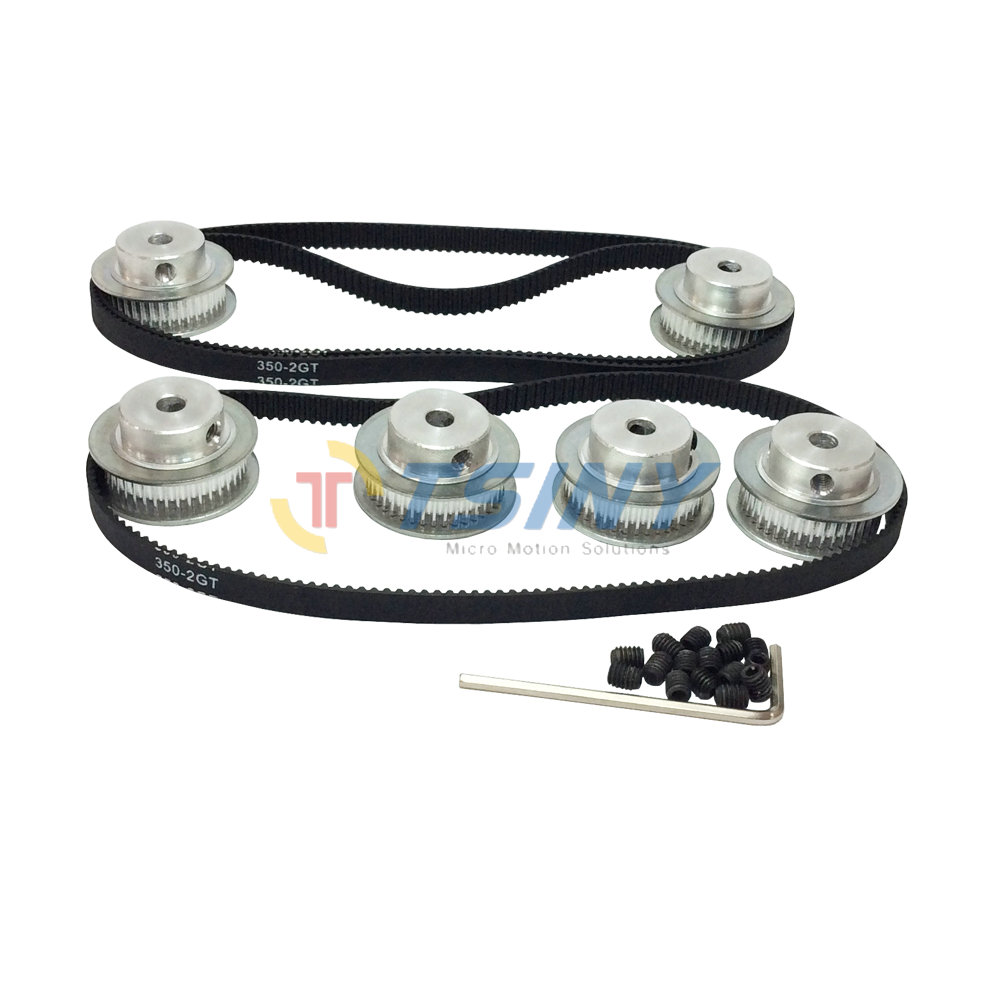 6pcs / set 40 Teeth 2GT Timing Belt Pulley Bore 5mm 8mm + 3pcs GT2 Timing Belts Length 350mm Width 6mm 175 Teeth Pitch 2mm powge 8pcs 20 teeth gt2 timing pulley bore 5mm 6mm 6 35mm 8mm 5meters width 6mm gt2 synchronous 2gt belt 2gt 20teeth 20t