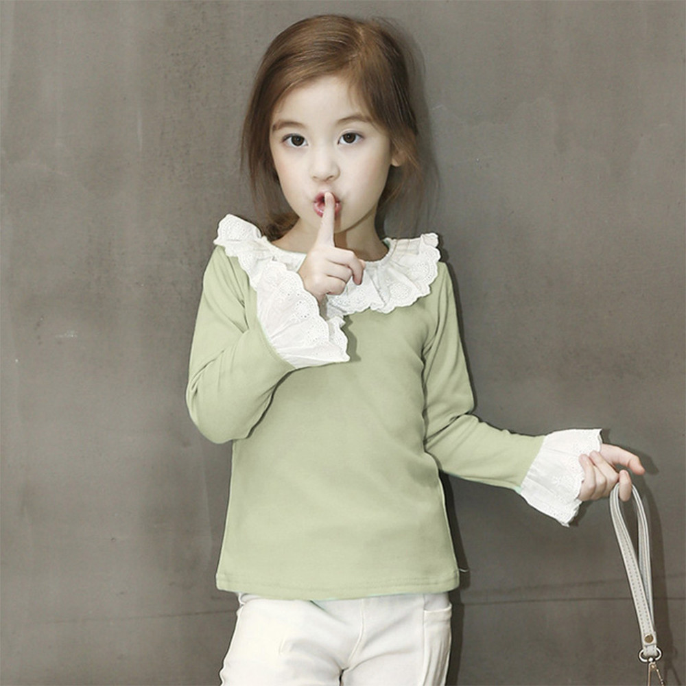 MUQGEW T-Shirts Lace-Tops Long-Sleeve Ruffled Baby-Girl Fashion Children Casual Spring