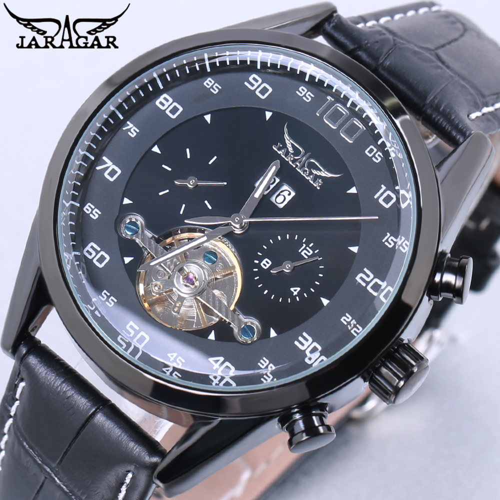 JARAGAR Luxury Brand Mechanical & Automatic Wrist Watch Men Business Dress Tourbillon Watches 2018 Day Date Leather Band Clock forsining date display automatic mechanical watch men business leather band watches modern gift dress classic analog clock box
