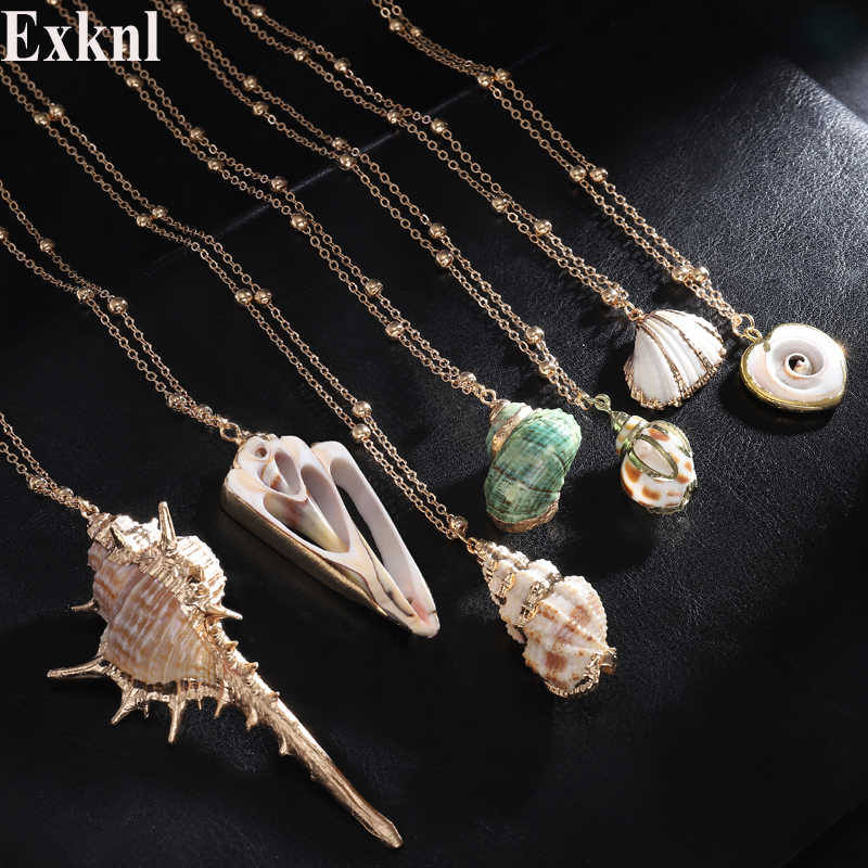 Exknl Boho Conch Shell Necklace Gold Color long Pendant Seashell Necklace Women Bohemian Summer Necklace Ocean Beach Jewelry