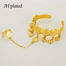 JHplated dzieci/dziecko/dziewczyny moneta bransoletka bransoletka dla dziecka Islam muzułmańskie arabskie monety pieniądze to jest bransoletka z pierścieniem
