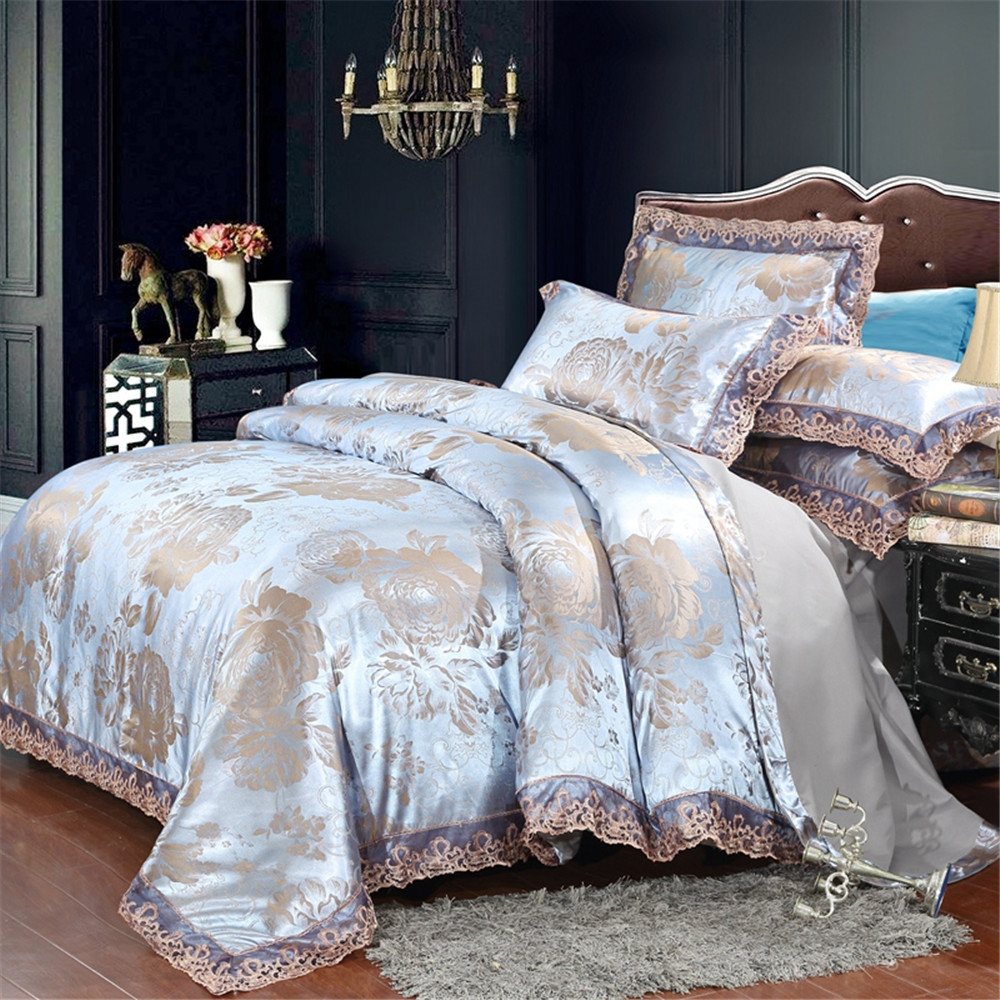 Jacquard Silver gray Bedding Set 4pcs Duvet Cover Bed Sheet Pillowcase Tencel Modal Jacquard Fabric luxury Bedlinen queen king Jacquard Silver gray Bedding Set 4pcs Duvet Cover Bed Sheet Pillowcase Tencel Modal Jacquard Fabric luxury Bedlinen queen king