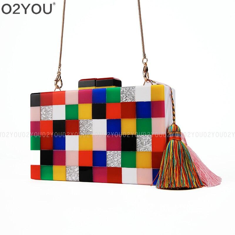 Acrylic colorful evening clutch bag elegant Handmade bag party wedding bridal purse Acrylic Box Clutch Bag