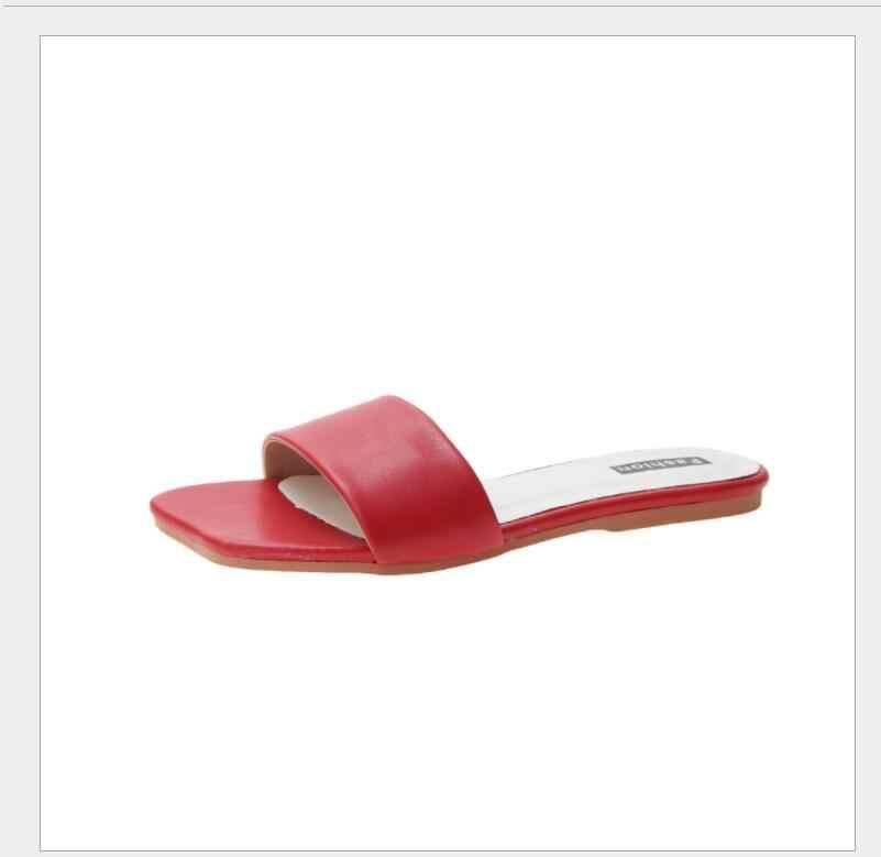 Новинка 2019 года; летние женские тапочки на плоской подошве; тапочки со словами; нескользящая обувь из искусственной кожи