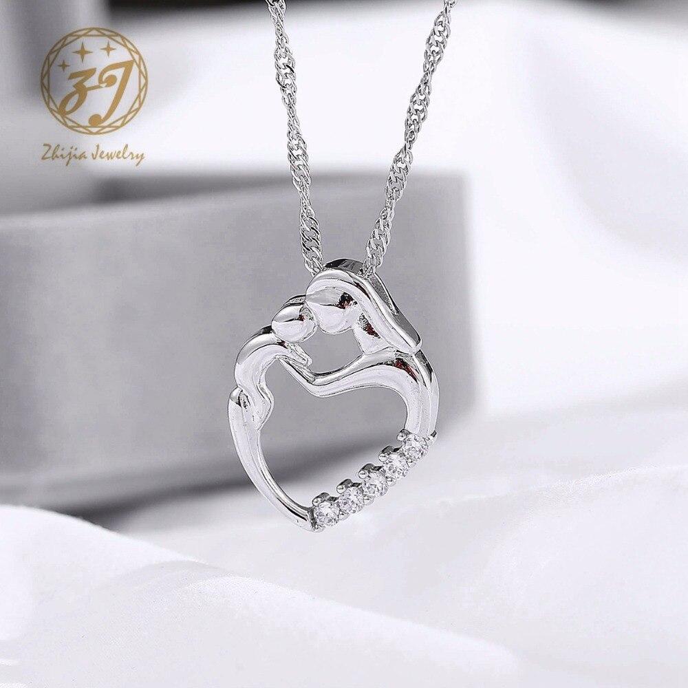 Nueva llegada regalos de moda plata mosaico collar de circón madre y - Bisutería - foto 4