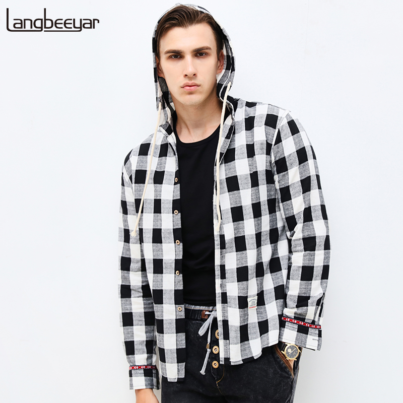 2017 New Fashion Brand Clothing Men Shirt Long Sleeve Trend Hooded Slim Fit Red Checkered Shirt Casual Plaid Shirt Men M-5XL