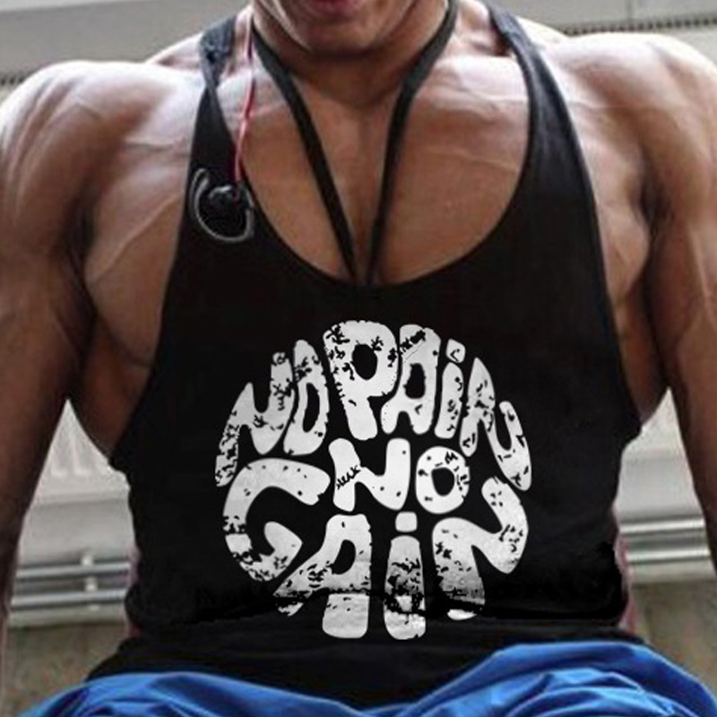 2018 No Pain No Gain Fitness   Tank     Top   Men Sleeveless Shirt Bodybuilding Vest New Gyms Tracksuits Muscle Work Out Clothes