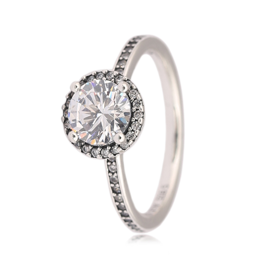 925 Sterling Silver Rings for Women Classic Elegance Ring Pave Round Crystal Girl Birthday Finger Ring Gift fit Lady Jewelry