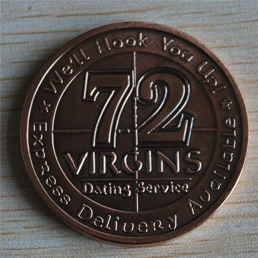 Free Shipping 5pcs lot U S Army 72 Virgins Bronze Challenge Coin in Non currency Coins from Home Garden