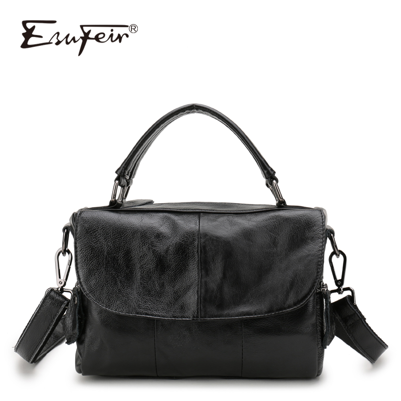 ESUFEIR Brand Genuine Leather Women Handbag Patchwork Leather Fashion Shoulder Bag Luxury Handbags Designer Ladies Crossbody Bag esufeir genuine leather handbag for women fashion brand designer shoulder bags cow leather crossbody bag ladies trapeze tote bag