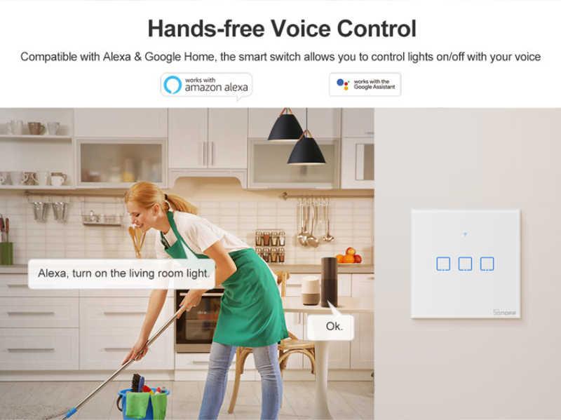 Harmonogram T0 US/UK/EU Standard 1/2/3 gang WiFi przełączniki ścienne eWeLink pilot zdalnego control działa z Alexa Google domu