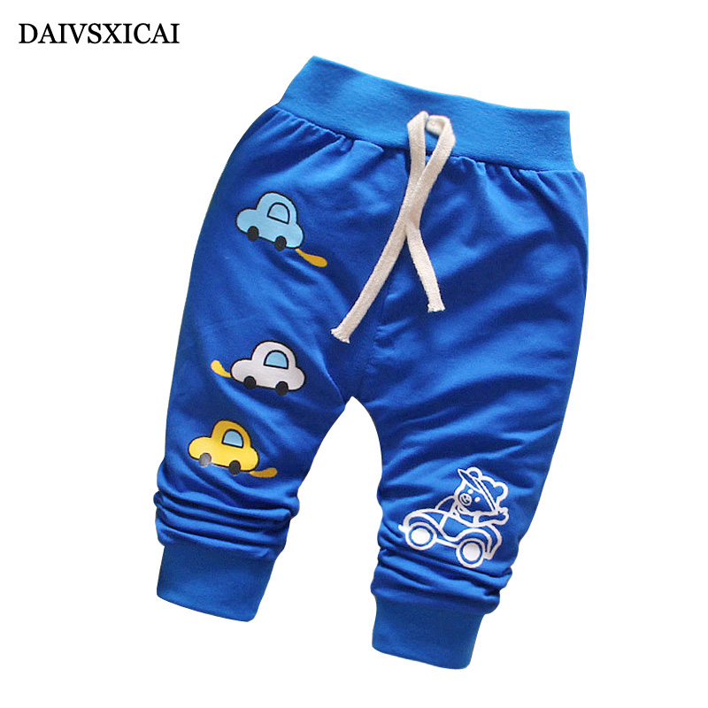 Daivsxicai Autumn Pants Baby Boy Cartoon Car Pattern Cotton Boy Clothes Pants Spring Baby Training Pants High Quality 7-24 Month