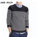 ZOOB MILEY Casual Men Sweaters Stripe Warm Knitted Jumpers O-Neck Fashion Men's Pullovers Plus Size Not Include Inside Shirts