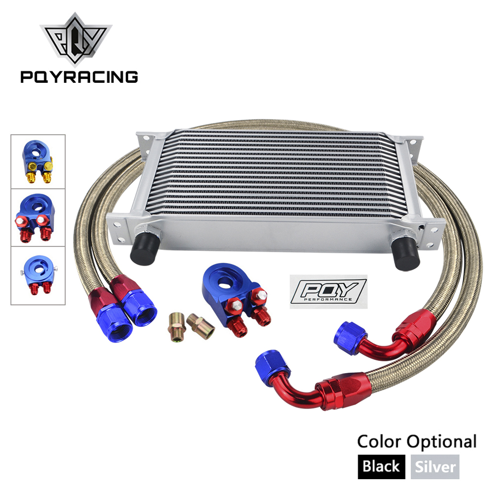 UNIVERSAL 19 ROWS OIL COOLER KIT +OIL FILTER SANDWICH + NYLON STAINLESS STEEL BRAIDED AN10 HOSE WITH PQY STICKER+BOX