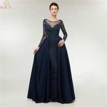 Navy Blue Long Sleeve Mermaid Evening Dresses 2019 New Sweep Train Handmade Luxurious Beading Sheer Scoop Neck Prom Gowns