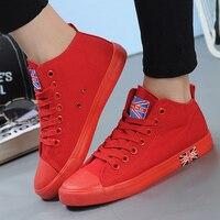 Mid Top Canvas Shoes Women Men Casual Shoes White Plus Size 43 Women Casual Walking Shoes