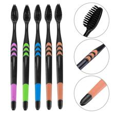 5Pcs/Pack Dental Personal Oral Care Teeth Brush Soft Toothbrush Bamboo Charcoal Nano Brush Tooth Brush Black Heads For Teeth