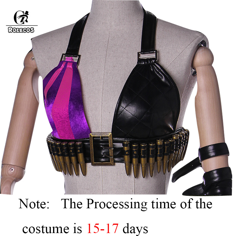 Image 3 - ROLECOS Jinx LOL Cosplay Costume Jinx Cosplay  Game LOL Costume Women Halloween Costume Full Set-in Game Costumes from Novelty & Special Use