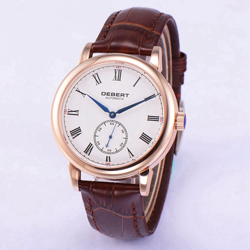 Debert 40mm Mens Automatic Watch Rosegold Case Blue Hands Roman Marks Watches Seagull Movt Brown Leather Strap Clock DT7031BRLDebert 40mm Mens Automatic Watch Rosegold Case Blue Hands Roman Marks Watches Seagull Movt Brown Leather Strap Clock DT7031BRL