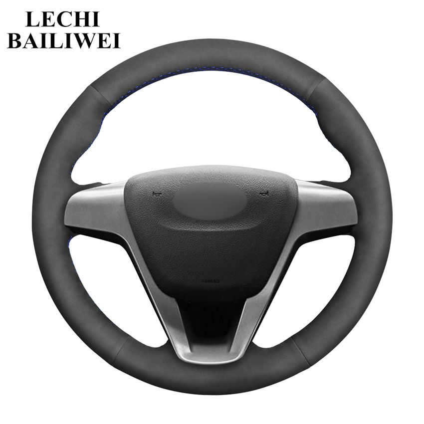 Black Suede Hand-stitched Comfortable Car Steering Wheel Cover for Lada Vesta 2015 2016 2017 2018 2019(China)