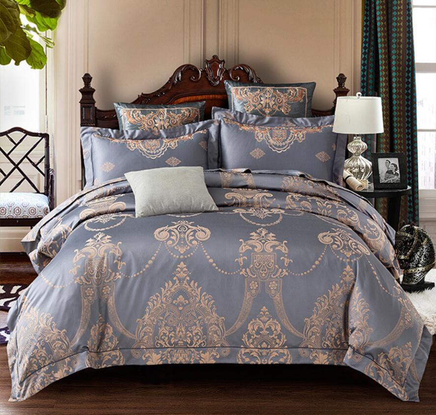 Style européen maison textile 4 pièces Satin ensemble de literie reine roi Jacquard soie housse de couette drap de lit coton brodé literie