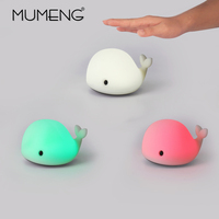 MUMENG LED Motion Sensor Dolphin Night Light USB Cute Whale Rechargeable Children Night Lamp Baby Toy