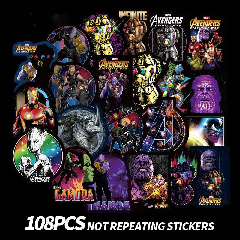 108PCS Marvel Movie AVENGERS Characters Stickers Toys For Sticker Decal Decoration To Laptop Skateboard Suitcase