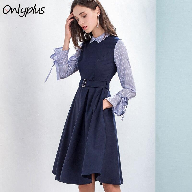 Onlyplus Autumn Spring Fashion A-Line Shirt Dress Flare Sleeve Belt Pocket  False Two Pieces 668b42c8f