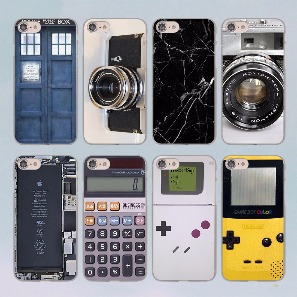 Reminiscent Classic Camera Battery Calculator design transparent clear hard case cover for font b Apple b
