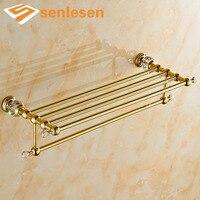 Wholesale And Retail Luxury Golden Brass Bathroom Towel Rack Holder Wall Mounted Towel Shelf W/ Towel Bar Holder