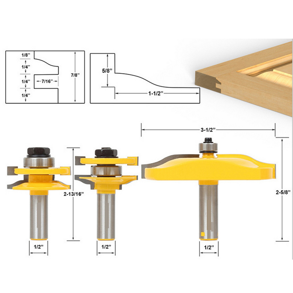 3 PCS 1/2 ''Tige Ogee Rail et Stile Routeur Peu Cove Panneau Augmenté Outils Ensembles Kit Bois Ciseau Cutter Tool Set
