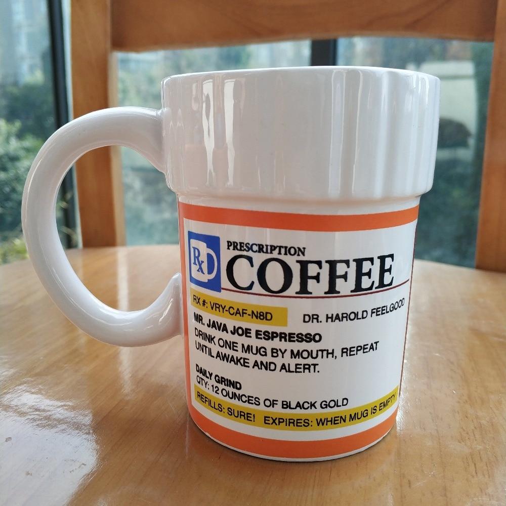 Caféine Prescription tasse à café bouteille de pilule tasse à café pharmacie Rx