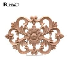 RUNBAZEF Woodcarving Furniture Decoration Style SolidWood Round Applique Door Heart Decorative Flower Funko Pop Artesanato Craft