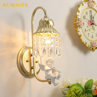 Crystal Wall Lamps Bedside Mirror Front Light Modern Corridor Bedroom Wall Sconce with Resin Angel Violin Trumpet Decoration
