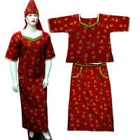 African Big Size Dresses for Women cotton african print clothing 2piece a set Cloth Real Wax Dress With Headtie