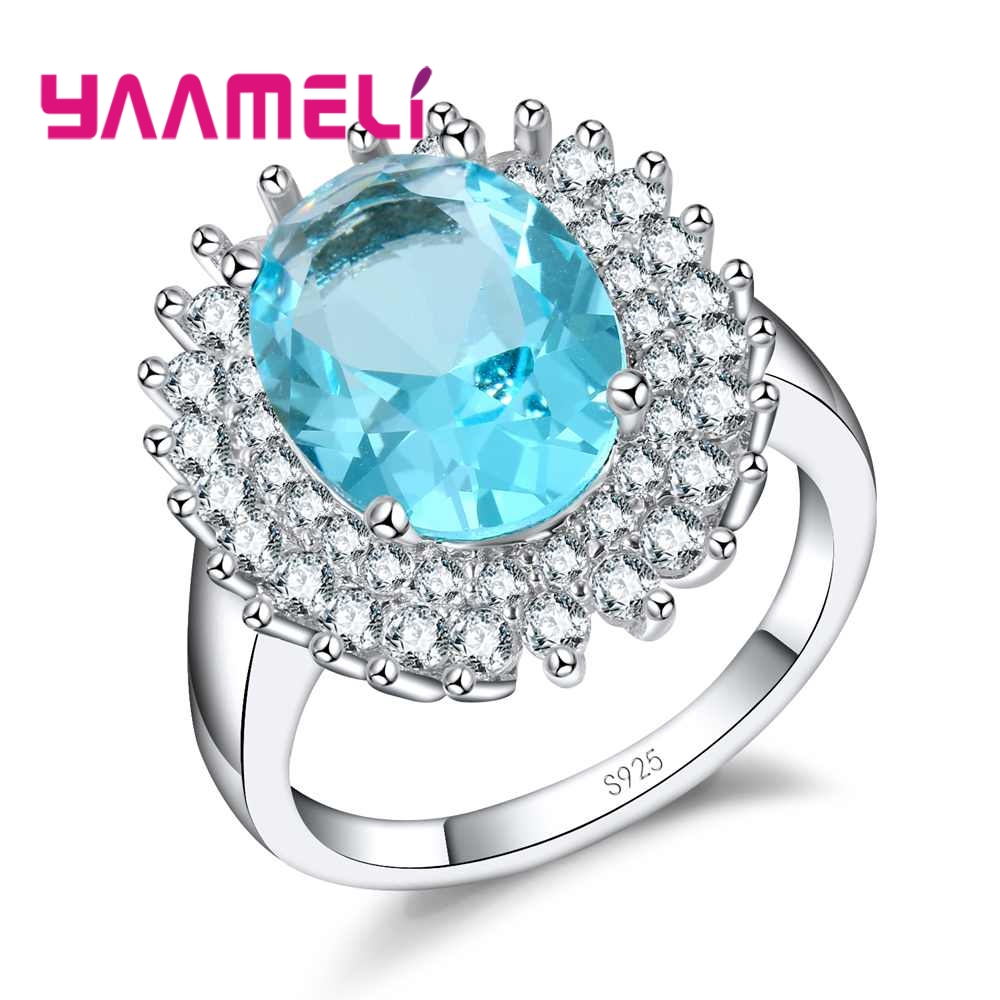 YAAMELI Luxurious Big Lake Blue Zircon With Rhinestone 925 Sterling Silver Rings For Women Wedding Engagment Band Rings Jewelry