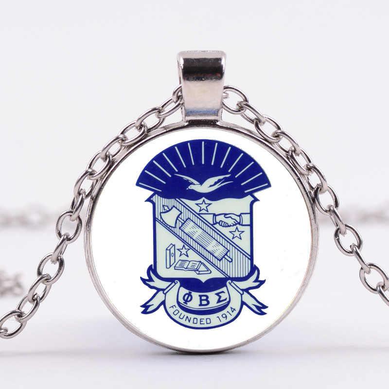 SIAN Phi Beta Sigma Hy Lạp Chữ Chuỗi Vòng Cổ Tình Anh Em Biểu Tượng In Thủy Tinh Làm Bằng Tay Cabochon Mặt Dây Chuyền Vòng Cổ 1914 Đồ Trang Sức