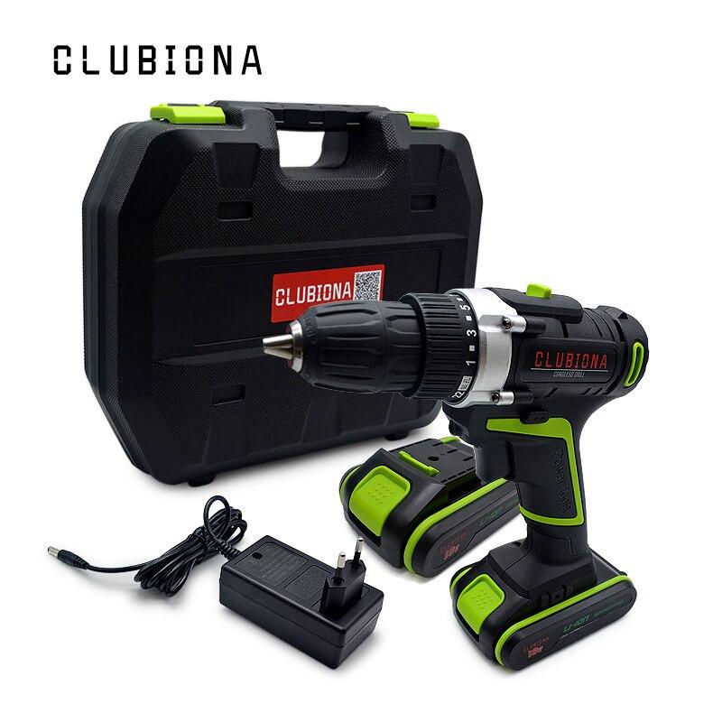 CLUBIONA haute performance Puissant et Certifié tension Nominale 18 v au lithium-ion batterie sans fil perceuse électrique Tournevis