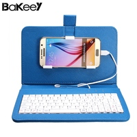 Bakeey Universal Wired Keyboard Holder Leather Flip Holster Case For Android Phone 4 2 6 8