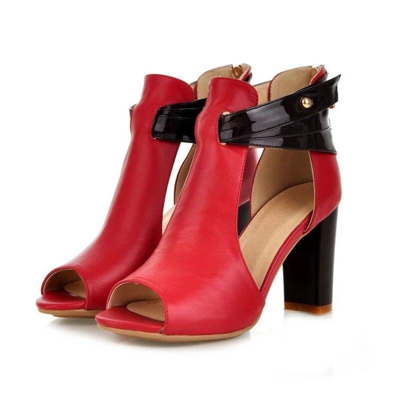 cc5ef38e06 Mola Mulher Sapatos Sandálias Das Senhoras Gladiador Peep Toe de Fundo  Antiderrapante Casuais Zipper Med Saltos Grossos Casamento Sandalias Mujer  620 W
