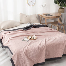 100% Cotton Gauze Blanket Muslin Quilt Comforter Bedding Quilted Coverlet Soft Summer Thick and Durable Throw