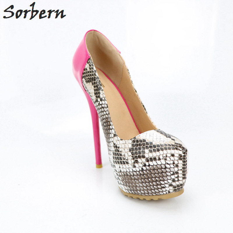 Sorbern Snakeskin Peach Women Pumps High Heel Platform Shoes Ladies 14Cm Slip On Pumps Women Shoes Spring 2018 Fashion Woman
