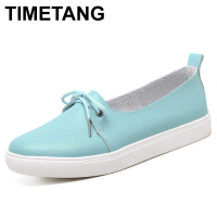 TIMETANG Arrival Spring Lovely Solid Women Shoes Genuine Leather Women Flats Shoes Colors Single Boat Shoes