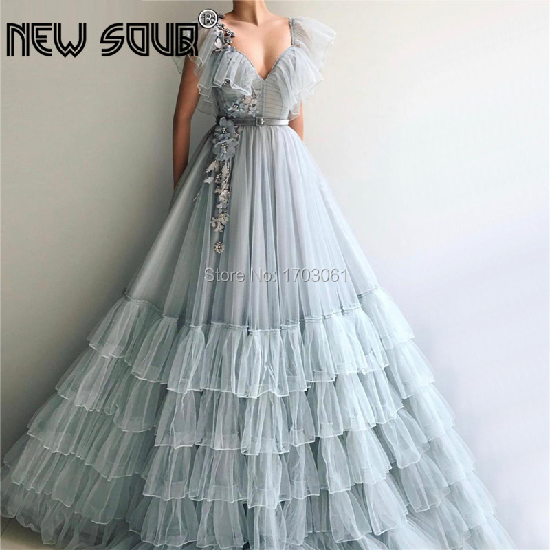 Newest Design V Neck Long Formal   Evening     Dresses   Gray Lace Ball Gowns Arabic Dubai Prom   Dress   Tiered Turkish 2019 Robe De Soiree