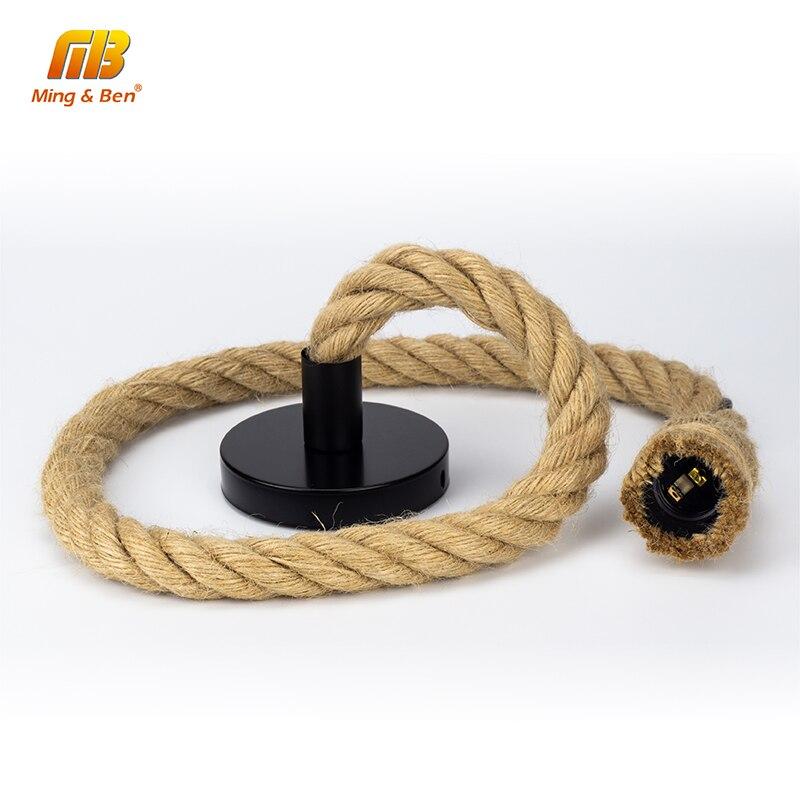 [MingBen] 1M 1.5M 2M Vintage Hemp Rope Pendant Light AC85-265V E27 Loft Creative Personality Industrial Pendant Lamp Base Decor