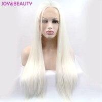 JOY & LÀM ĐẸP Tóc Phụ Nữ dài ren synthetic straight front tóc Nhiệt Độ Cao Sợi 26 inch Màu Trắng Tinh Khiết Ren Phía Trước tóc gi