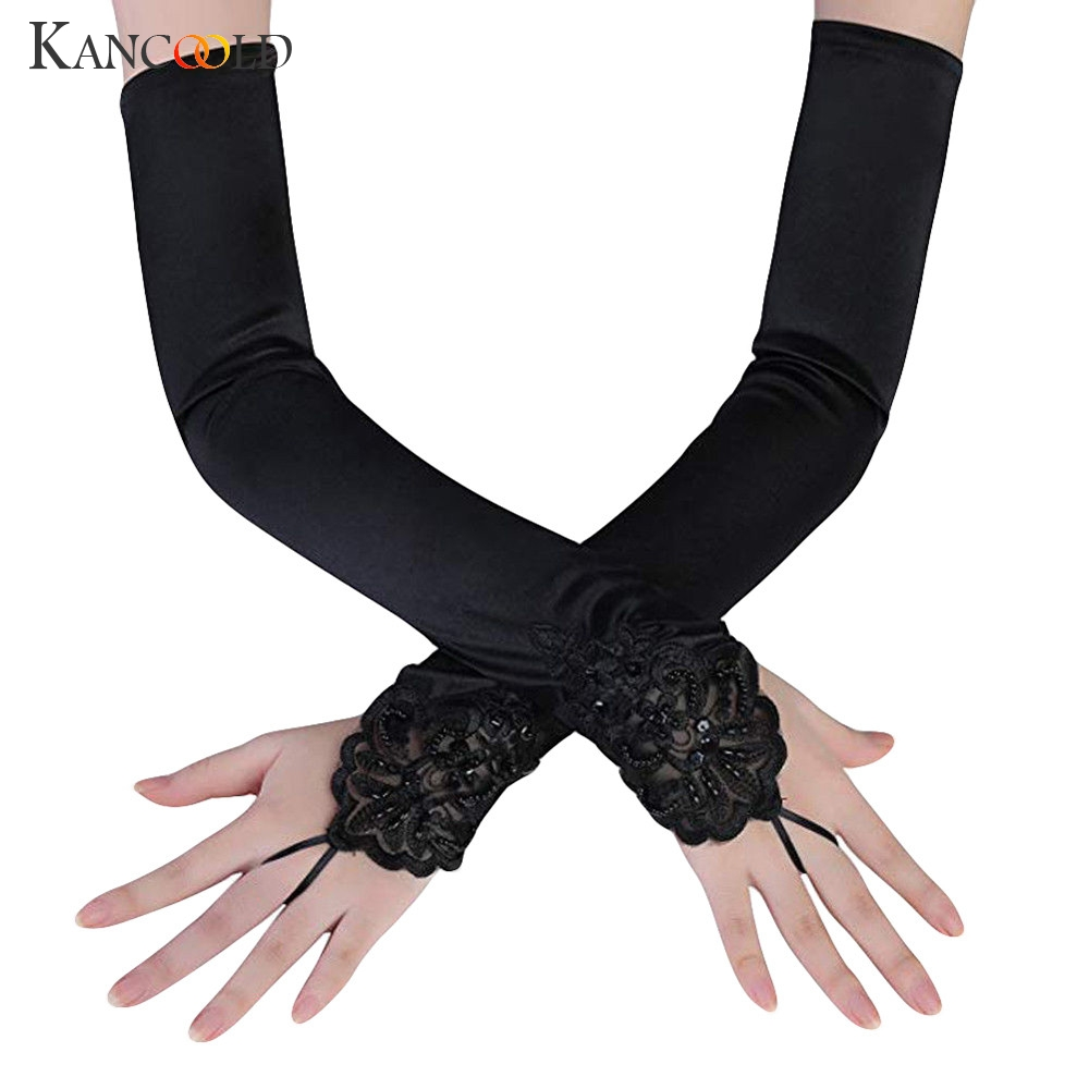 KANCOOLD Gloves Fashion Party Fingerless Lace Long Paragraph Gloves Rhinestone Casual New Gloves Women 2018NOV28